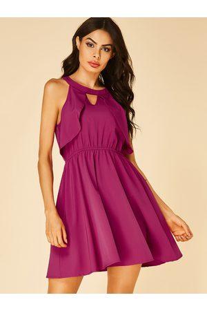 YOINS Women Halterneck Dresses - Cut Out Halter Ruffle Trim Sleeveless Dress