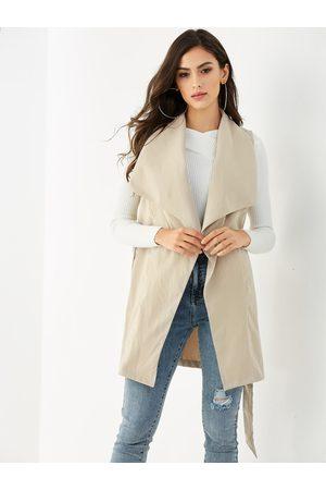 YOINS Women Blazers - Lapel Collar Belt Design Woven Waistcoat