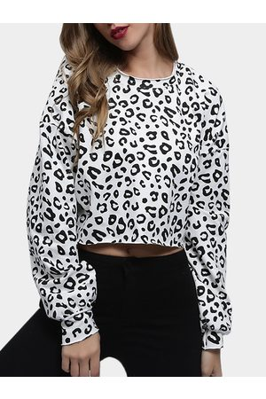 YOINS Leopard Round Neck Long Sleeves Crop Sweatshirt