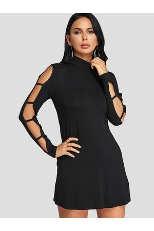 YOINS Casual Stand Collar Cut Out Sleeves Dress