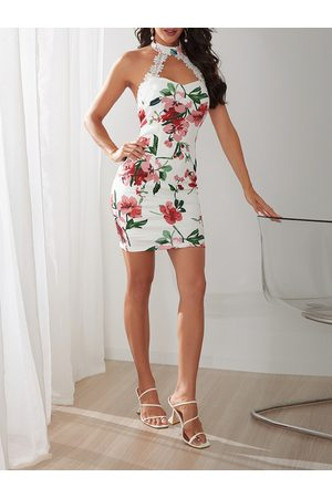 YOINS Backless Design Random Floral Print Halter Dress