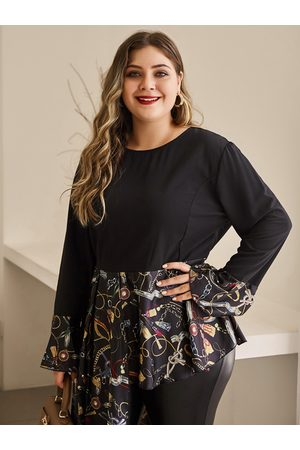 YOINS Women Long Sleeve - Plus Size Black Random Paisley Print Long Sleeves Tee