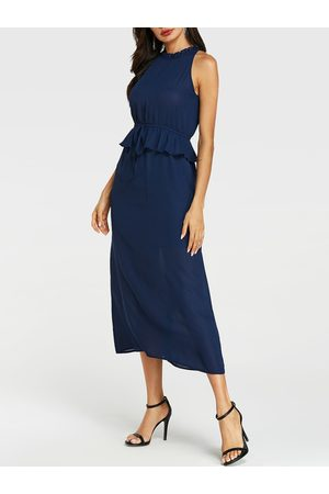 YOINS Frill Neck Tie-up Design Sleeveless Dress