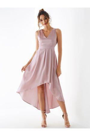 YOINS Champagne V-neck Sleeveless Irregular Hem Satin Dress