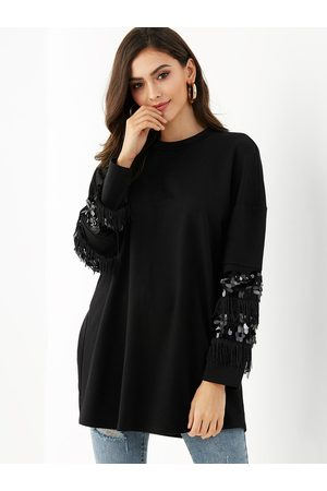 YOINS Sequins Embellished Round Neck Long Sleeves Tee