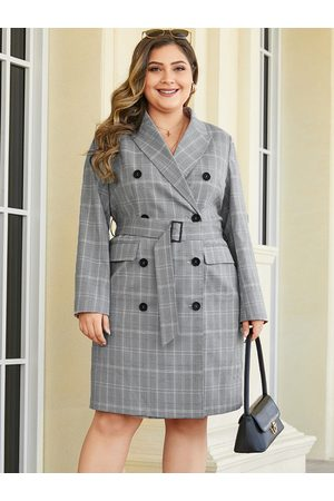 YOINS Plus Size Grey Belt Design Plaid Lapel Collar Coat