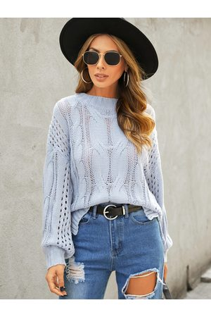 YOINS Hollow Design Cable Knit Round Neck Long Sleeves Sweater