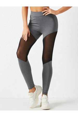 YOINS Grey Mesh Patchwork High-Waisted Sporty Leggings