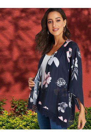 YOINS Women Kimonos - Random Floral Print Lace Trim Kimono