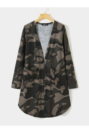 YOINS Army Green Camo V-neck Long Sleeves Cardigan