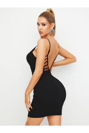 YOINS Black Cut Out Backless Design Spaghetti Strap Dress