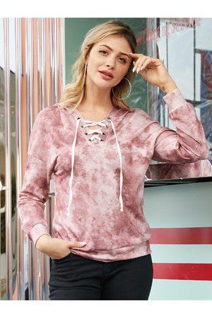 YOINS Pink Lace-up Design Long Sleeves Hoodie