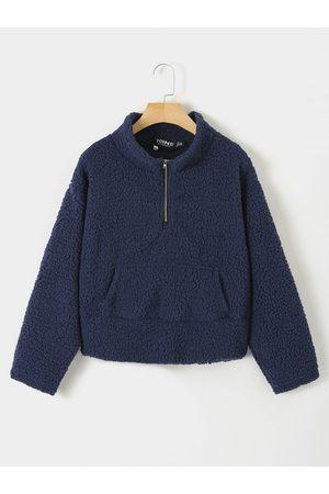 YOINS Navy Pocket Design Zip Front Teddy Sweatshirt