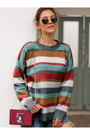 YOINS Multi Color Stripe Round Neck Oversized Knit Jumper