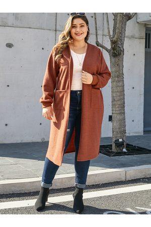 YOINS Plus Size Orange Side Pockets Long Sleeves Cardigan