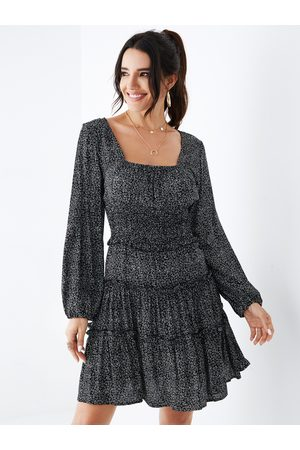YOINS Square Neck Ruched Design Long Sleeves Dress