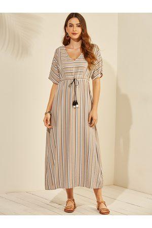 YOINS Apricot Tassel Details Stripe V-neck Half Sleeves Dress