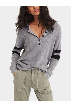 YOINS Button Design Stripe V-neck Long Sleeves Tee