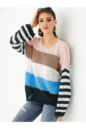 YOINS Multi Color Stripe Round Neck Jumper