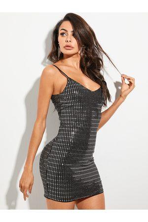 YOINS Silver Sequins Deep V-neck Spaghetti Strap Dress
