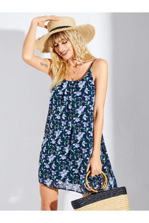 YOINS Navy Floral Backless Scoop Neck Spaghetti Strap Dress