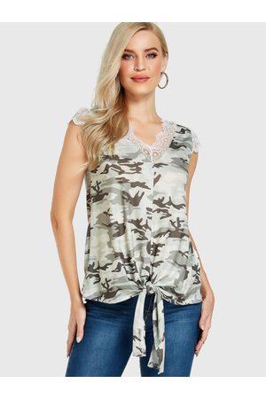 YOINS Camouflage Lace Trim V-neck Sleeveless Top
