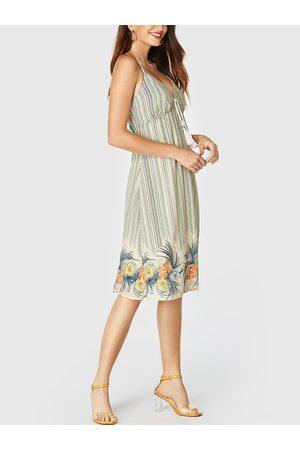 YOINS Apricot Backless Design Floral Print Deep V Neck Sleeveless Dress