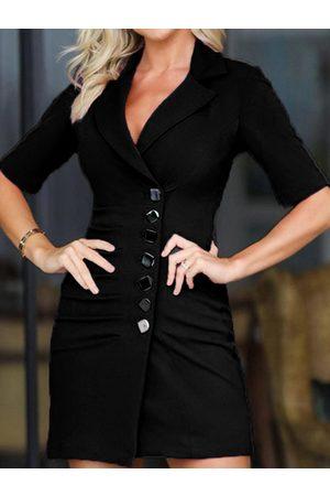 YOINS Black Front Button Lapel Collar Half Sleeves Suit Dress