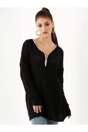 YOINS Zip Front V-neck Long Sleeves Sweater