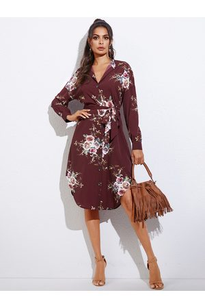 YOINS Burgundy Floral Print Belted Front Button Revere Collar Long Sleeves Dress