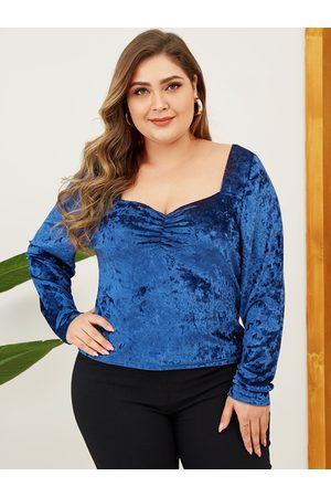 YOINS Plus Size Blue Square Neck Long Sleeves Velvet Tee