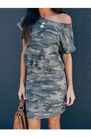 YOINS Army Green Camo One Shoulder Short Sleeves Dress