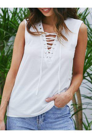 YOINS White Lace-up Design Deep V-neck Tank Top
