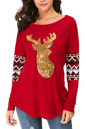 YOINS Red Patch Christmas Print Round Neck Tee