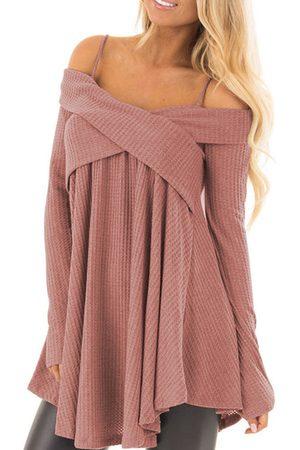 YOINS Pink Crossed Front Design Cold Shoulder Knit Sweater