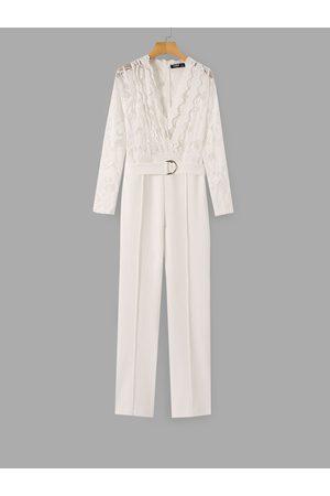 YOINS White Mesh Lace V-neck Belt Design Long Sleeves Jumpsuit