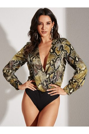 YOINS Yellow Snakeskin Deep V Neck Long Sleeves Two Piece Outfit