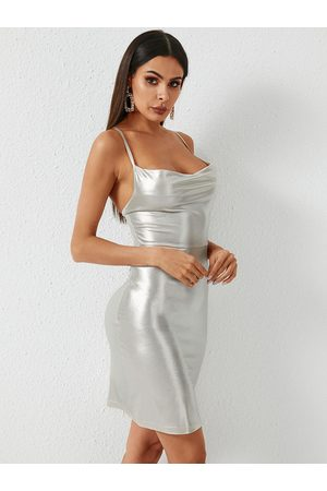 YOINS Silver Criss-cross Lace-up Design Spaghetti Strap Dress