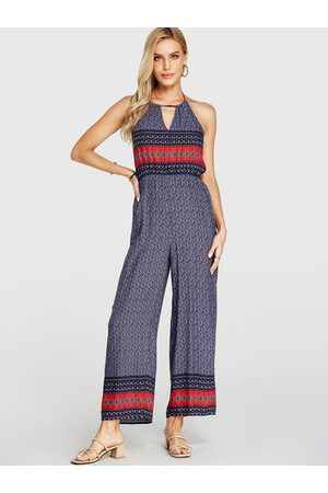 YOINS Cut Out Tribal Print Sleeveless Jumpsuit