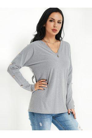 YOINS Women Long Sleeve - V-neck Button Design Fashion Tee