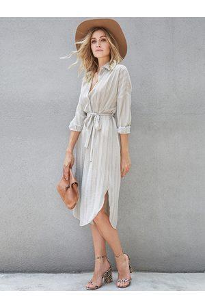 YOINS Belt Design Stripe Classic Collar Long Sleeves Dress