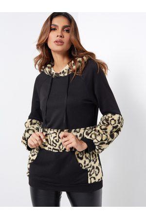 YOINS Casual Fluffy Leopard Print Kangaroo Pocket Hoodie