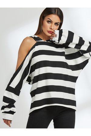 YOINS Women Hoodies - Stripe Asymmetrical Cold Shoulder Hoodie