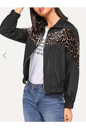 YOINS Black Zip Design Leopard Pullover Long Sleeves Coat
