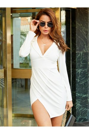 YOINS Ruched Notch Collar Long Sleeves Dress