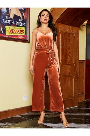 YOINS Orange Backless Design Velvet Sleeveless Jumpsuit