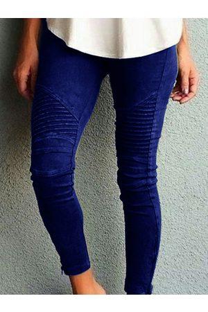 YOINS Blue Ruched Zip Design Stretch Waistband Pants