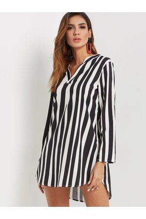 YOINS Women Casual Dresses - Casual Zebra V-neck Long Sleeves Curved Hem Shift Dress