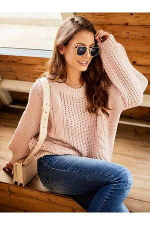 YOINS Women Jumpers - Cable Knit Round Neck Lantern Sleeves Sweater