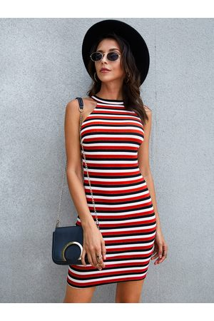 YOINS Women Halterneck Dresses - Stripe Button Keyhole Halter Sleeveless Dress